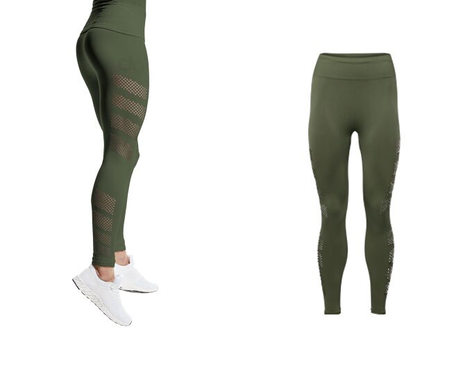 seamless womens mesh tight - khaki
