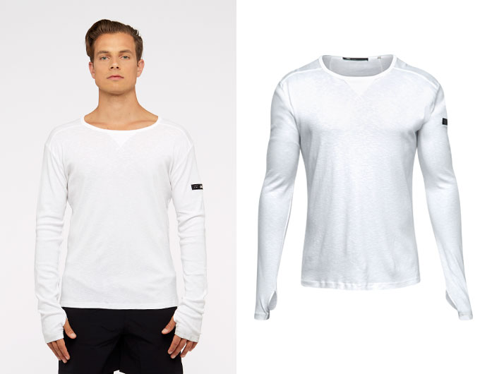 base slub mens long sleeve - white