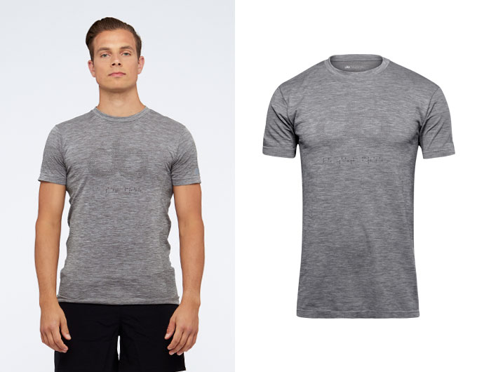 seamless mens sports t shirt - taupe marl