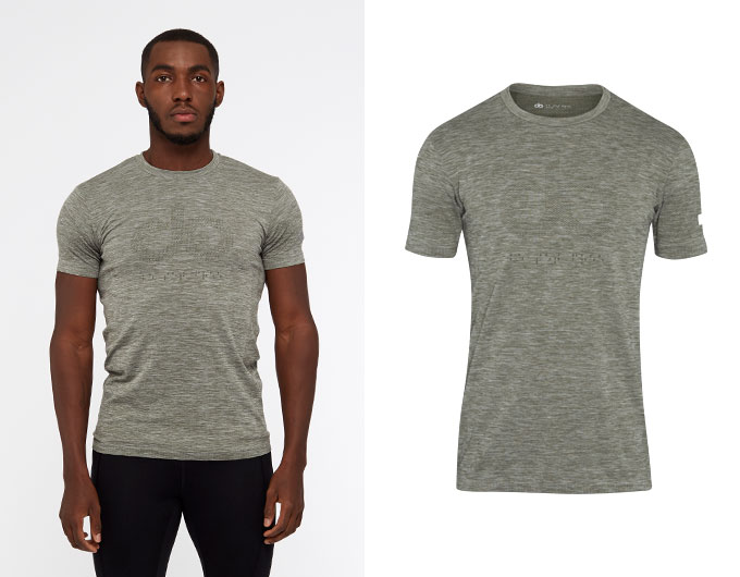 seamless mens sports t shirt - moss marl