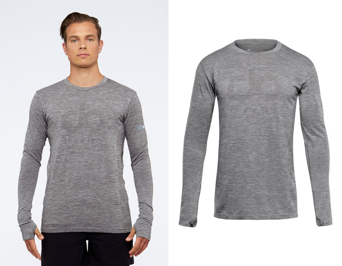 seamless mens long sleeve sports top - taupe marl