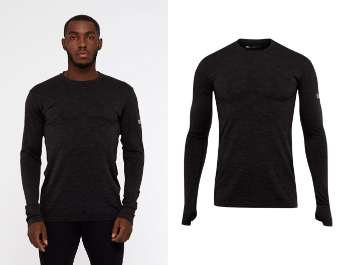 seamless mens longsleeve sports top -  black marl