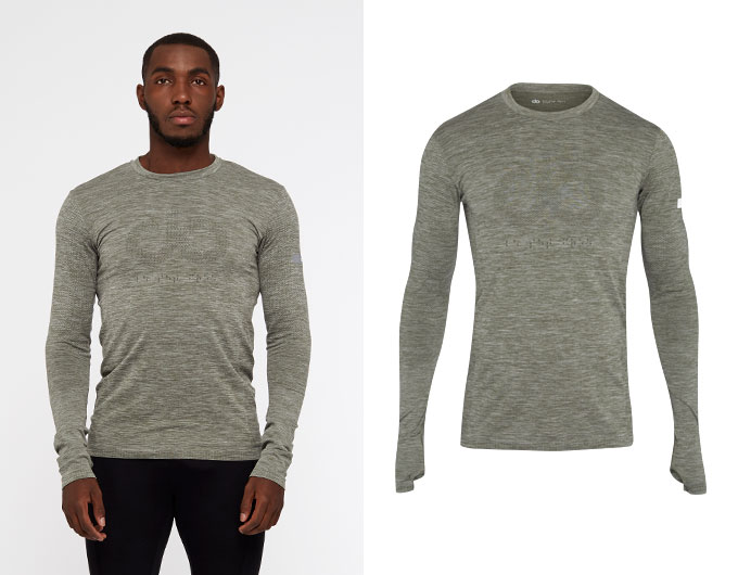 seamless mens long sleeve sports top - moss marl