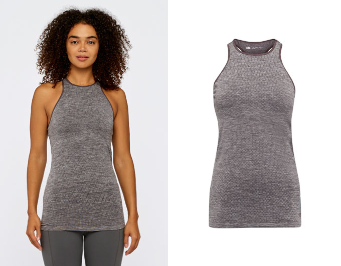 seamless womens sports vest - chocolate aubergine marl
