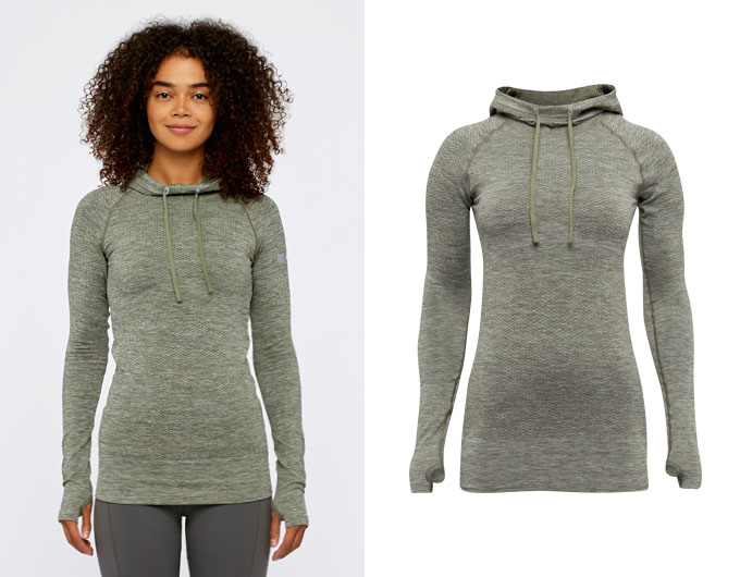 base seamless womens sports hoodie -  moss marl