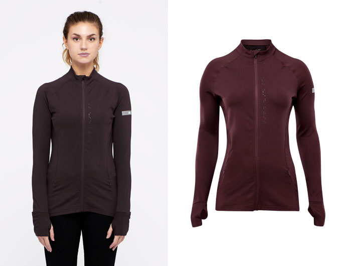 base womens zip top - chocolate aubergine