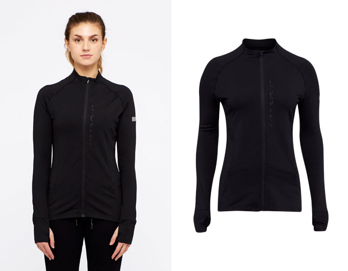base womens zip jacket - black