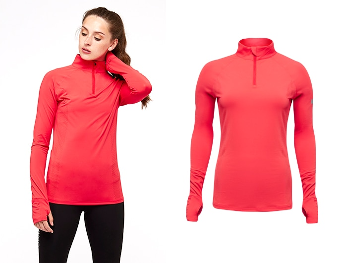 sheer speed womens 1/2 zip top - red