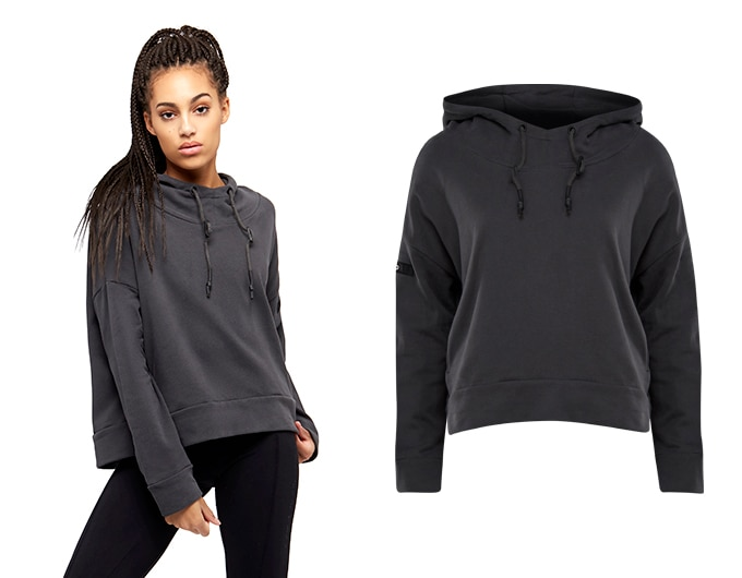 base womens boxy hoodie - washed black