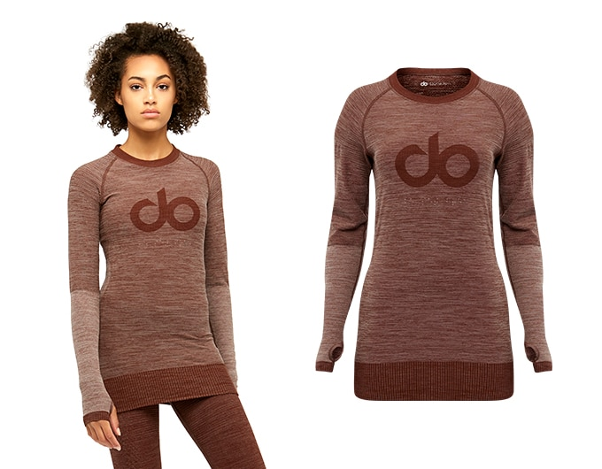 icon seamless womens rib long sleeve - earth marl