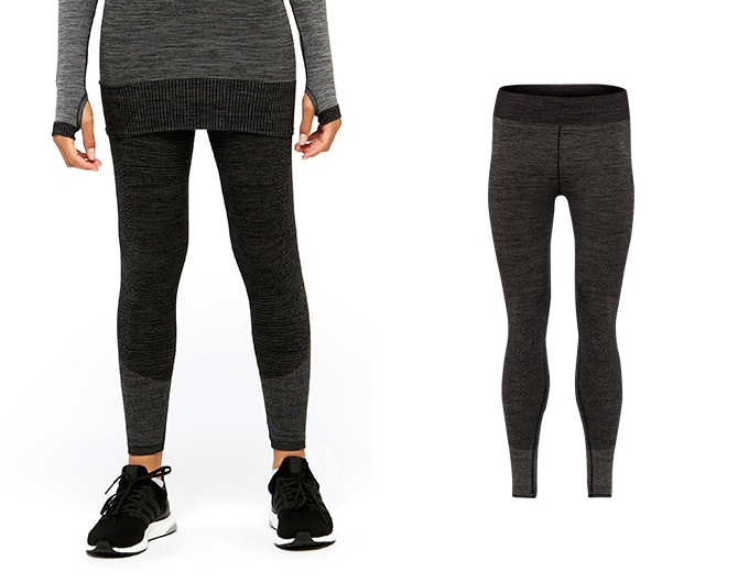 base seamless womens rib tight - black marl