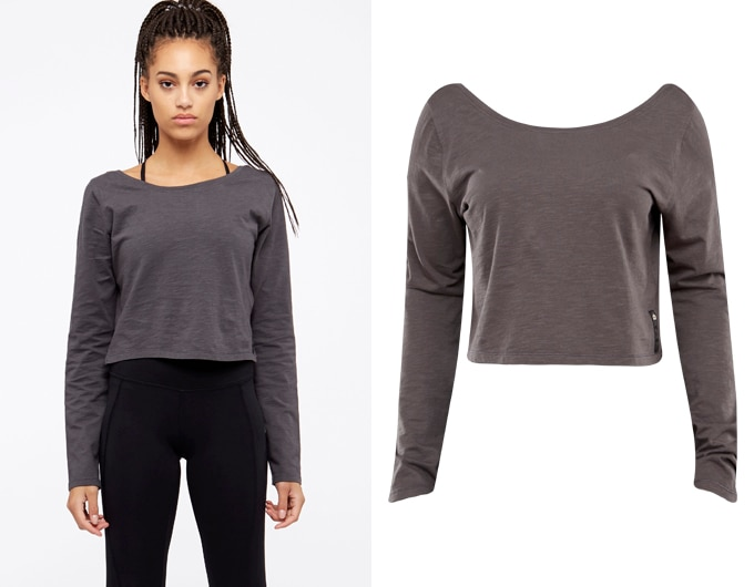 base womens long sleeve crop top - washed black